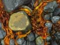Versierde steen, keienstrand Lofoten