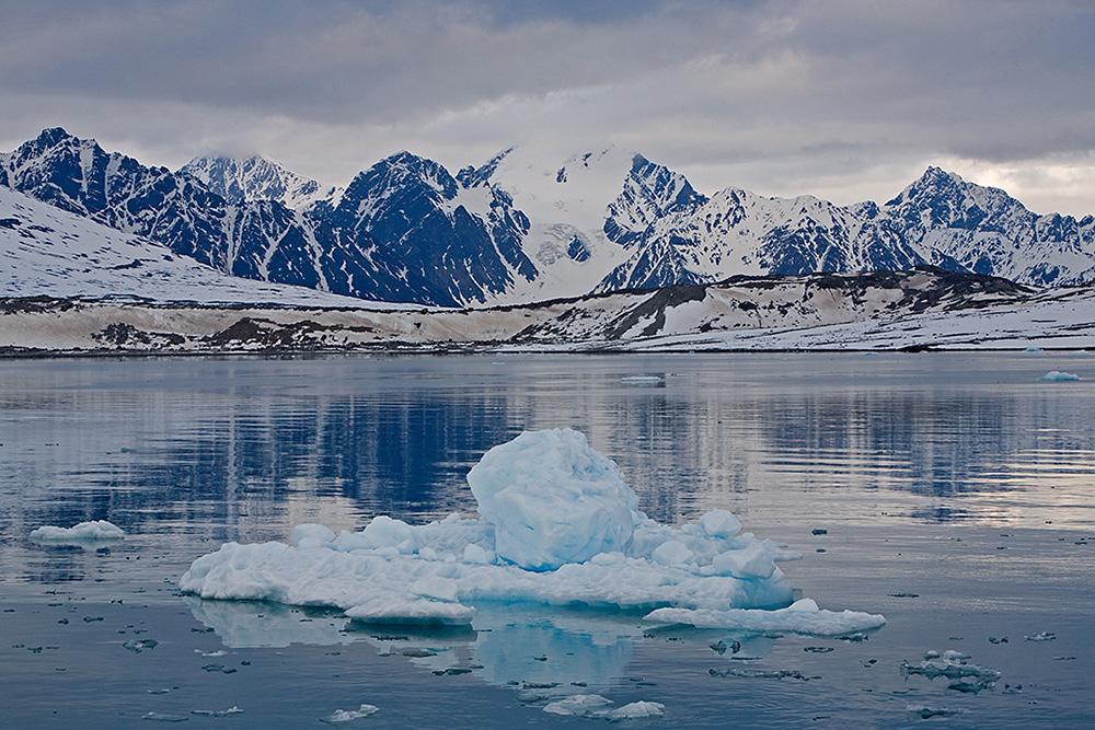 Fjord met ijsbergje